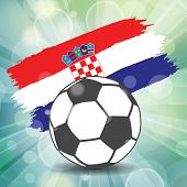 Football Ball Icon On Croatian Flag Background From Brush Strokes In Grunge Style On Flash Rays Gree poster