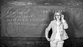 Preparing To The Exams. Teacher On School Lesson At Blackboard. Woman In Classroom. Study And Educat poster