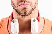 Sale Discount. Enjoy Perfect Music Sound Headphones. Man Listening Music Headphones White Background poster