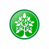 Green Tree Logo, Green Tree Leaves Vector Isolated On White Background, Tree Leave Logo Vector, Tree poster
