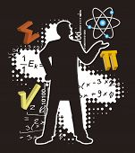 Teacher Of Math And Physics.  Illustration Of Male Silhouette With Mathematics And Physics Symbols O poster