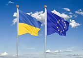 Ukraine Vs European Union. Thick Colored Silky Flags Of Ukraine And European Union. 3d Illustration  poster