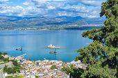 Landscape With View On Nafplio From Above, Seaport Town In The Peloponnese In Greece, Capital Of  Re poster