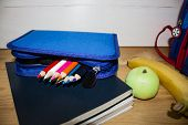 Blue Pencil Case With Pencils. School Supplies. Notebooks And Pencils. Back To School Concept. Copy  poster