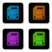 Glowing Neon Png File Document Icon. Download Png Button Icon Isolated On White Background. Png File poster