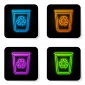 Glowing Neon Recycle Bin With Recycle Symbol Icon Isolated On White Background. Trash Can Icon. Garb poster