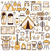 Camping And Hiking Equipment Design Elements Set poster