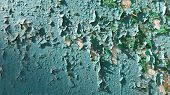 Blue Green Painted Rusty Metal Surface With Flaking Paint Texture Closeup. Grunge Backdrop. Abstract poster