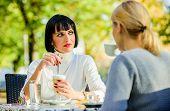 Girls Friends Drink Coffee Talk. Conversation Women Cafe Terrace. Friendship Friendly Relations. Dis poster