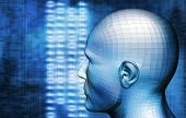 humanoid head and technology background