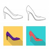 Isolated Object Of Footwear And Woman Icon. Set Of Footwear And Foot Bitmap Icon For Stock. poster