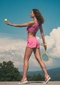 Tennis Is Downright Smashing. Sexy Athletic Woman Playing Tennis Outdoor. Fit Woman Holding Tennis B poster