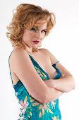 image of camisole  - Beautiful young blonde in a teal camisole - JPG