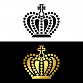 Crown Logo, Crown Icon Black And Gold Vector In Modern Flat Style For Web, Graphic And Mobile Design poster