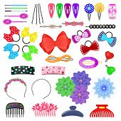 Hair Accessory Vector Kids Hairpin Or Hair-slide And Hair-clip Ponytailer For Girlish Hairstyle Illu poster