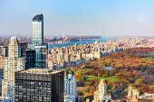 New York, New York, USA cityscape with Central Park in autumn. poster