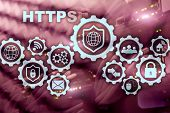 Https. Hypertext Transport Protocol Secure. Technology Concept On Server Room Background. Virtual Ic poster