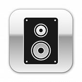 Black Stereo Speaker Icon Isolated On White Background. Sound System Speakers. Music Icon. Musical C poster