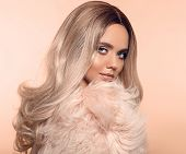 Ombre Blond Hairstyle. Beauty Fashion Blonde Portrait. Sexy Woman Wears In Pink Fur Coat. Beautiful  poster