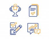 Checkbox, Victory And Handout Icons Simple Set. Accounting Sign. Survey Choice, Championship Prize,  poster