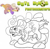 Cartoon Cute Prehistoric Dinosaur Protoceratops, Funny Illustration poster
