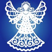 Carved Openwork Angel Silhouette With Heart. Laser Cut Christmas Carved Openwork Angel. Greeting Car poster