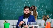 Biology Plays Role In Understanding Of Complex Forms Of Life. School Teacher Of Biology. Man Bearded poster