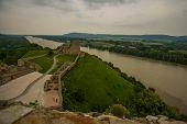 Danube, Bratislava, Slovakia: Beautiful Landscape With Devin Castle, Mountais And Danube River. poster