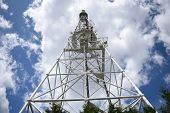 Telecommunication Towers Include Of Radio Microwave And Television Antenna System With Cloud Blue Sk poster