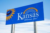 Welcome to Kansas highway sign poster
