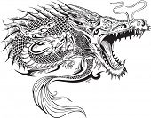 image of henna tattoo  - Dragon Doodle Sketch Tattoo Vector - JPG