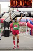 BARCELONA - SEPT, 16: Athlete Roger Roca wins La Cursa de la Merce, a popular race in Montjuich Moun