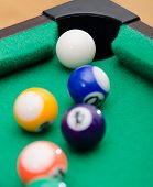 Pool Game Balls On Green Felt Table