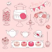 stock photo of girlie  - Happy Valentines Day set with bunting - JPG