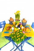 stock photo of duck egg blue  - Detail easter table in blue and yellow - JPG