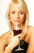 foto of matron  - blond girl with glass of wine close up - JPG