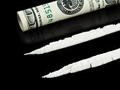 picture of crack cocaine  - Cocaine and money isolated on black background - JPG