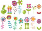 picture of funky  - Vector Collection of Funky Retro Stylized Flowers - JPG