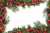 Christmas background floral border with red baubles, natural holly, mistletoe, ivy, fir leaf sprigs