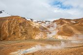 Iceland is a land of ice and fire. In the geothermal area Kerlingarfjoll one can see smoke and boili