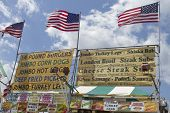Deep Fried American Fast Food Signs At The Fair