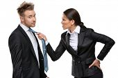 Two business people debate and fight, isolated on white. Concept of competition and job competitive