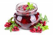 pic of jar jelly  - Jar with red cowberry jelly and fresh berrys on white background - JPG