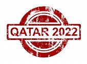 Qatar 2022 stamp isolated on white background.