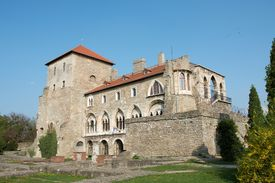 pic of tatas  - Old castle in Tata Hungary clear blue sky - JPG
