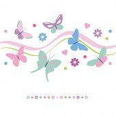stock photo of violets  - lovely pink violet blue and green butterflies flowers and hearts greeting card on white background - JPG