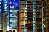 Hong Kong apartment block at night