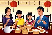 pic of chinese restaurant  - A vector illustration of Chinese family eating dim sum at a Chinese restaurant - JPG