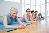 picture of senior class  - Portrait of a fitness group lying in row at the yoga class - JPG