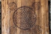 image of tetrahedron  - Wooden Flower of Life - JPG